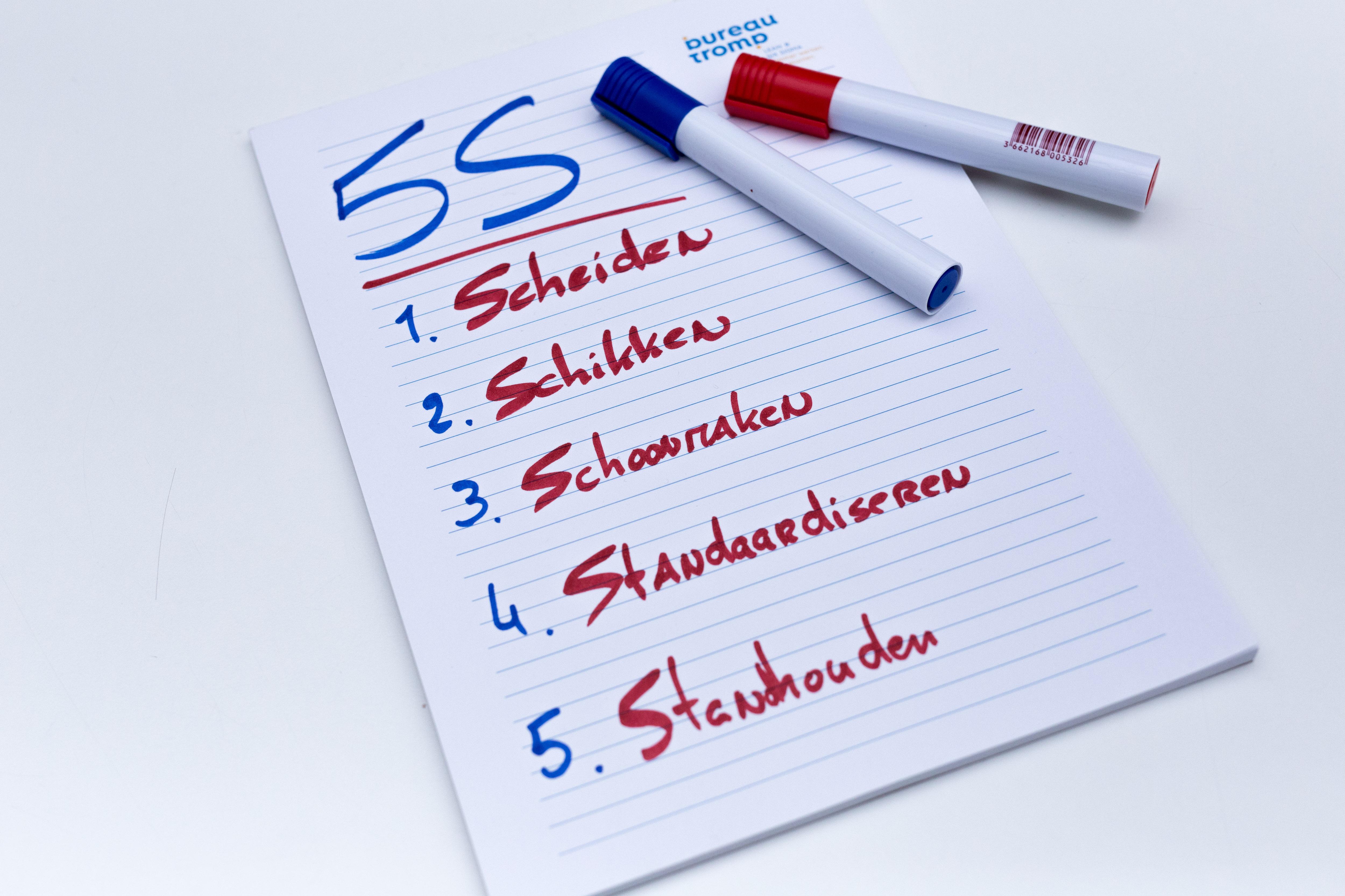 5S uitgelegd, Scheiden, Schikken, Schoonmaken, Standardiseren, Standhouden